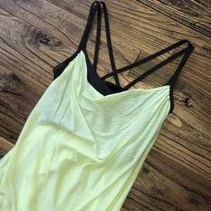 Lucy // Yellow + Gray Workout Top